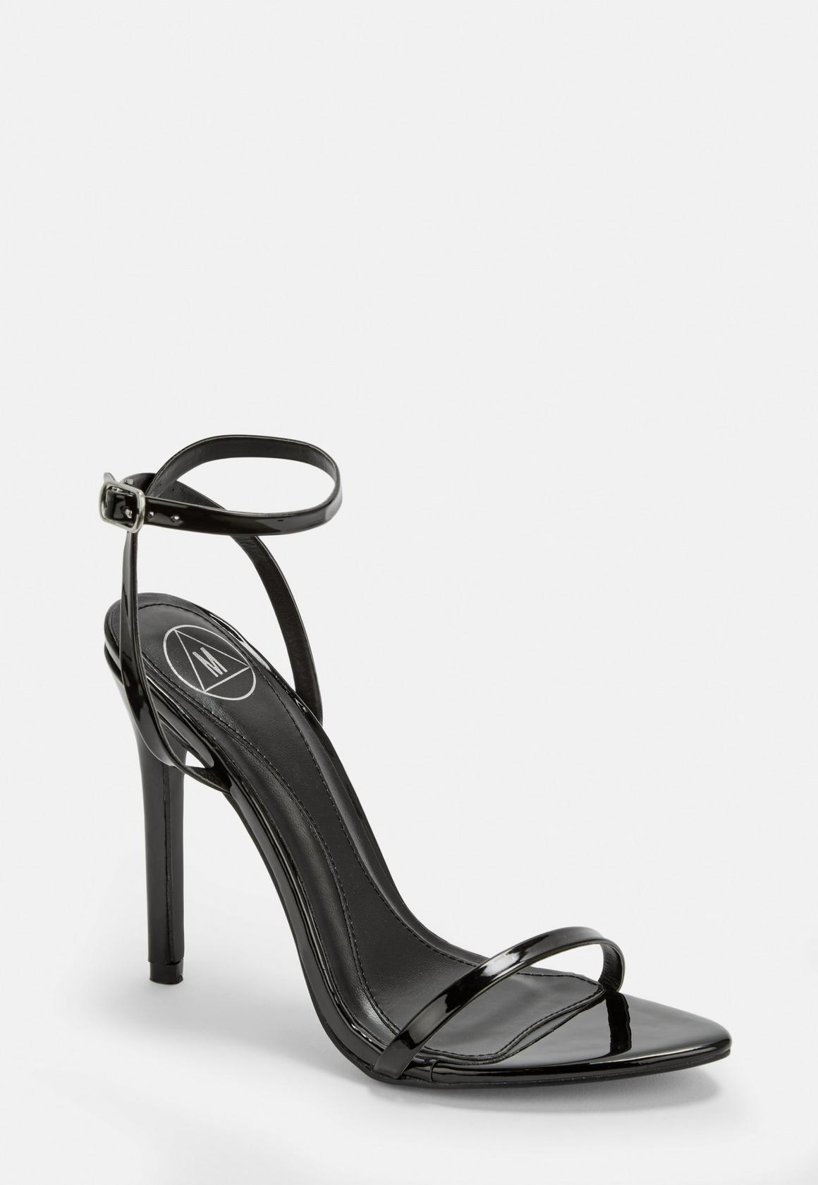 black pointed toe barely there patent