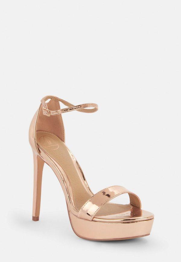 rose gold simple strap platform sandals